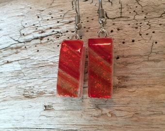 Dichroic glass earrings, glass earrings, glass jewelry, fused glass earrings, handmade dichroic glass, Dangle Dichroic Glass earrings