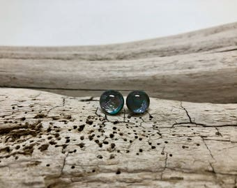 Jewelry, dichroic glass, dichroic glass handmade, dichroic glass earrings, Stud earrings, glass studs,  glass