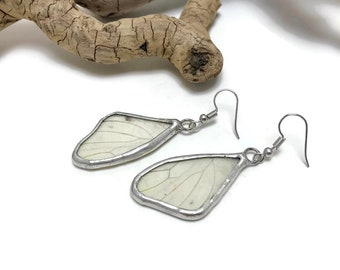 Butterfly wing jewelry, butterfly earrings, glass earrings, butterfly wing earrings, butterfly jewelry, butterfly earrings, insect jewelry