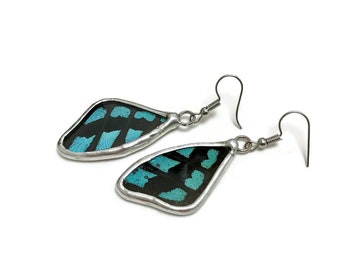 Real Butterfly jewelry, real butterfly wing, butterfly earrings, glass earrings, insect jewelry, insect Earrings, glass jewelry, earrings