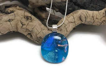 Fused glass Jewelry, fused glass pendant, glass necklace, Glass Pendant, Glass Jewelry, Dichroic glass jewelry, fused glass pendant, glass