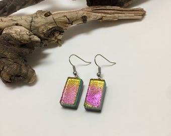 Jewelry, fused glass, dichroic glass, handmade glass earrings, dangle earrings, glass, handmade, dichroic glass earrings, earrings