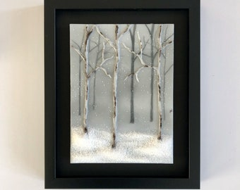 Fused Glass art, Wall art, handmade glass art, landscape, Glass art, handmade fused glass panel, fused glass wall art, forest