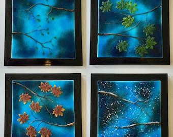 Fused glass, handmade fused glass, fused glass wall panel, Fused Glass art, handmade fused glass panel, fused glass wall art, glass leaves