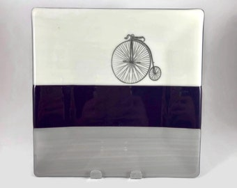 Fused glass plate, bike plate, handmade glass dish, dish, art, home decor, jewelry dish, candy dish, spoonrest, dish, fused glass plate