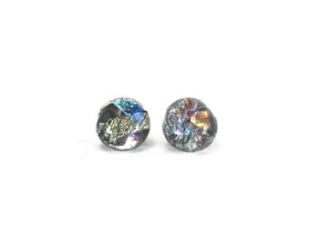 Glass earrings, fused glass earrings, handmade dichroic glass, glass studs, dichroic glass stud earrings, glass,  Stud earrings