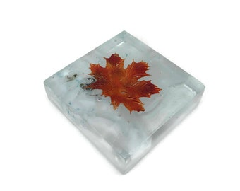 Fused glass art, maple leave, glass art, glass leaves, home decor, art, glass paper weight, handmade glass paper weight, Glass ornament