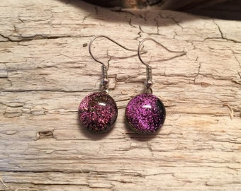 Dichroic Glass earrings, fused glass earrings, glass earrings, handmade dichroic glass, glass jewelry, fused glass jewelry, glass, earrings