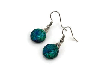 Glass jewelry, dichroic glass earrings, fused glass earrings, glass earrings, dichroic glass earrings, dangle earrings
