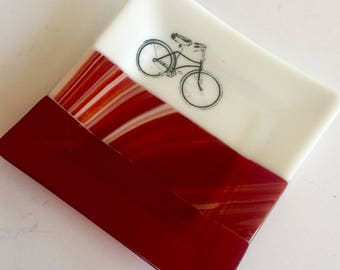 Fused Glass plate, bike dish, Home decor, handmade glass dish, glass plate, tea bag dish, candy dish, decorative dish, fused glass