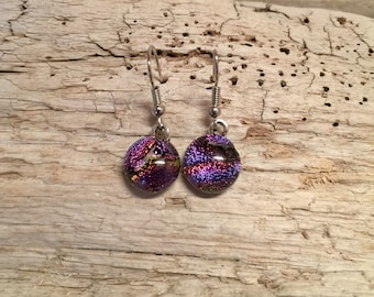 Jewelry, Dichroic glass jewelry, dichroic glass, handmade dichroic glass, fused glass, fused glass earrings, Dichroic Glass Dangle earrings