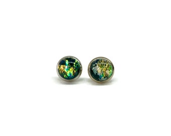 Fused glass jewelry, fused glass earrings, dichroic glass jewelry, glass glass studs, dichroic glass earrings, fused glass studs,  Studs