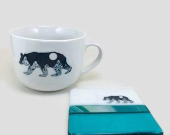 Fused glass, Fused glass coaster, mug, coffee mug, glass coaster, cup, ceramic mug, bear themed mug, handmade mug, home decor, fused glass