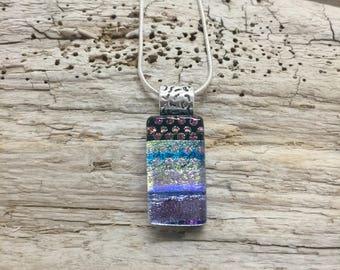 Glass Jewelry, Dichroic glass pendant, glass necklace, Dichroic Glass Necklace, Fused Glass Jewelry, handmade dichroic glass, glass pendant