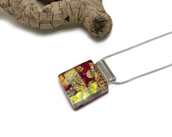 Glass Pendant, Dichroic glass pendant, glass necklace, Glass Jewelry, fused Glass Jewelry, handmade dichroic glass, fused glass pendant