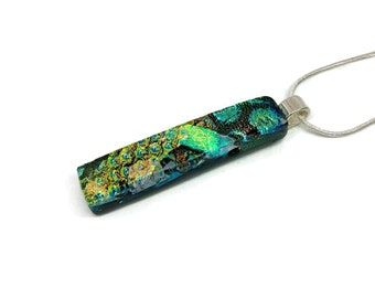 Fused Glass necklace, Dichroic glass pendant, dichroic glass jewelry, dichroic glass pendant, fused glass jewelry, fused glass pendant