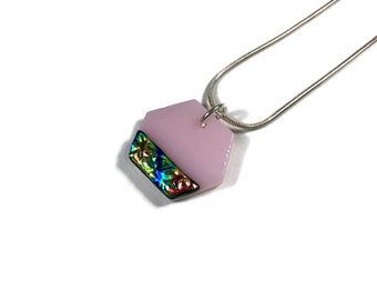glass jewelry, Unique jewelry, minimalist jewelry, Dichroic Glass Pendant, Fused Glass Jewelry, Dichroic glass Necklace, glass necklace