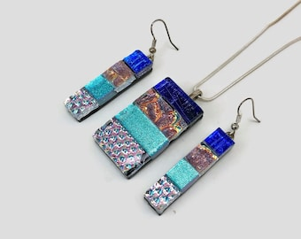 Dichroic glass Jewelry, glass jewelry, dichroic glass pendant, dichroic glass necklace, fused glass set, fused glass jewelry, glass earrings