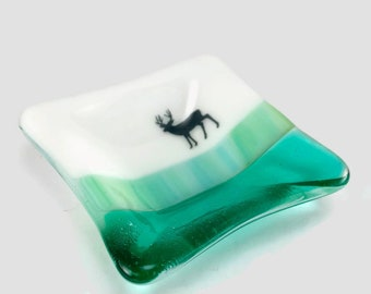Fused glass plate, wildlife, handmade glass dish, dish, elk plate, decor, jewelry dish, candy dish, spoonrest, dish, fused glass plate