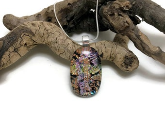 Dichroic glass jewelry, Dichroic glass necklace, Dichroic Glass Pendant, Fused Glass Jewelry, Fused glass Necklace, fused glass pendant