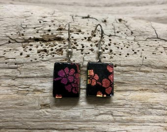 Glass jewelry, glass earrings, glass dangle earrings, fused glass, dichroic glass earrings, fused glass earrings, Dangle Glass earrings
