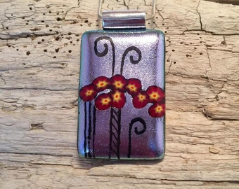 Dichroic glass jewelry, Dichroic Glass Pendant, statement jewelry, Fused Glass Jewelry, Fused layered Dichroic Necklace, Dichroic Glass