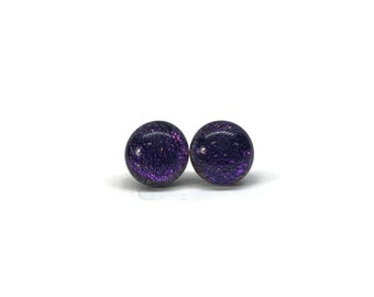 Dichroic glass jewelry, handmade dichroic glass, Dichroic Glass stud earrings, fused glass earring, dichroic glass handmade