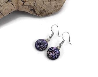 Glass earrings, glass jewelry, dichroic glass earrings, glass jewelry, fused glass earrings, dangle earrings, Dichroic Glass Jewelry