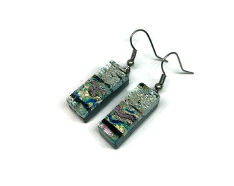 Glass earrings, Dichroic glass earrings, glass dangle earrings, fused glass, fused glass earrings, Dichroic Glass Dangle earrings
