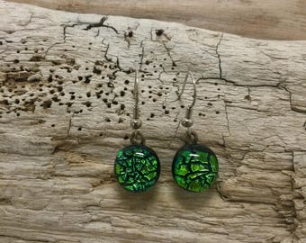 jewelry, dichroic glass, fused, glass, boho jewelry, handmade fused glass, dichroic glass earrings, dangle earrings, Dichroic Glass earrings