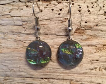 Dichroic glass jewelry, handmade fused glass,glass, dichroic glass earrings, long fused glass earrings, Long Dangle Dichroic Glass earrings