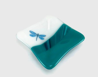 Fused glass, dragonfly plate, handmade fused glass dish, glass dish, ring dish, tea bag dish, candy dish, decorative dish, fused glass plate