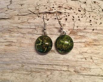 Jewelry, handmade fused glass,glass, dichroic glass earrings, glass earrings, handmade jewelry,round earrings,Dangle Dichroic Glass earrings