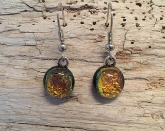 Glass earrings, drop earrings, dangle earrings, Dichroic glass jewelry, handmade fused glass, dichroic glass earrings, fused glass earrings