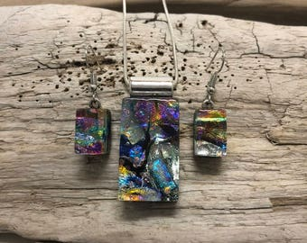 Jewelry, set, glass, handmade, art, Dichroic glass, handmade dichroic, handmade dichroic glass, fused glass, pendant, earrings, jewelry set
