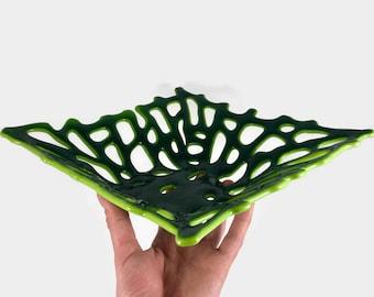 Fused glass bowl, handmade glass dish, glass art, glass bowl, handmade dish, home decor, coral bowl, glass, handmade glass bowl, glass dish