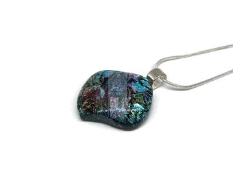Dichroic Glass Jewelry, Dichroic glass pendant, dichroic glass necklace, fused glass necklace, fused Glass Jewelry, fused glass pendant