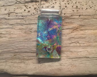 Dichroic glass Jewelry, fused glass pendant, glass necklace, Glass Pendant, Glass Jewelry, Fused glass jewelry, fused glass pendant, glass