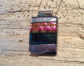 Glass pendant, dichroic glass jewelry, dichroic glass, glass necklace, fused glass, handmade fused glass, glass jewelry, glass
