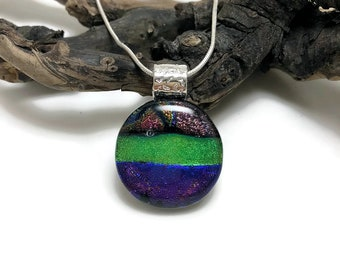Dichroic glass, dichroic glass pendant, dichroic, Dichroic Pendant, Fused Glass Jewelry, handmade dichroic glass, glass pendant, glass