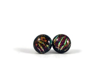 Dichroic glass earrings, dichroic glass jewelry, fused glass jewelry, fused glass earrings, glass studs, Glass earrings, glass jewelry