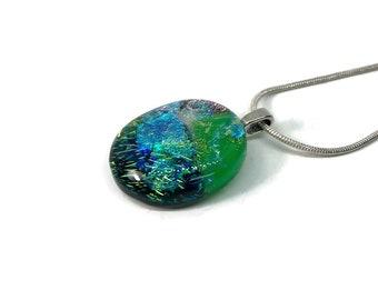 Dichroic glass pendant, Dichroic glass jewelry, Dichroic Glass Necklace, Fused Glass Jewelry, Fused glass Necklace, glass jewelry