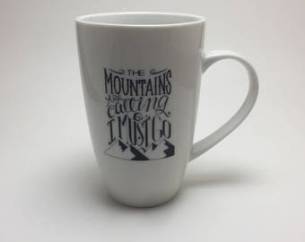 porcelain mug, hand painted porcelain mug, coffee mug, coffee cup, ceramic mug, mountain themed mug, handmade mug, home decor, tea mug