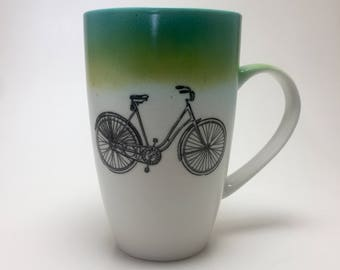 Coffee mug, hand painted porcelain mug, coffee mug, gift, painted, cup, ceramic mug, bike themed mug, handmade mug, home decor, tea mug