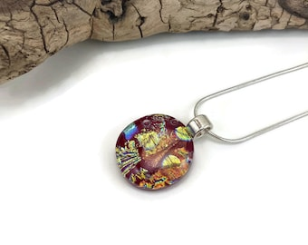 Glass pendant, fused glass necklace, glass necklace, glass jewelry, dichroic glass necklace, fused glass pendant, Dichroic glass jewelry
