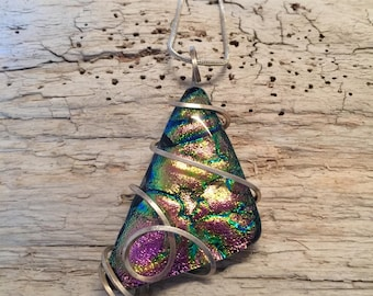 Fused glass jewelry, fused glass pendant, Dichroic Glass Pendant, Glass Jewelry, Fused glass necklace, Dichroic glass Necklace, Glass
