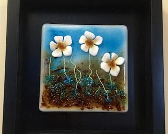 Home decor, Fused glass, handmade fused glass, wall panel, Fused Glass art, handmade fused glass panel, fused glass wall art, glass flowers