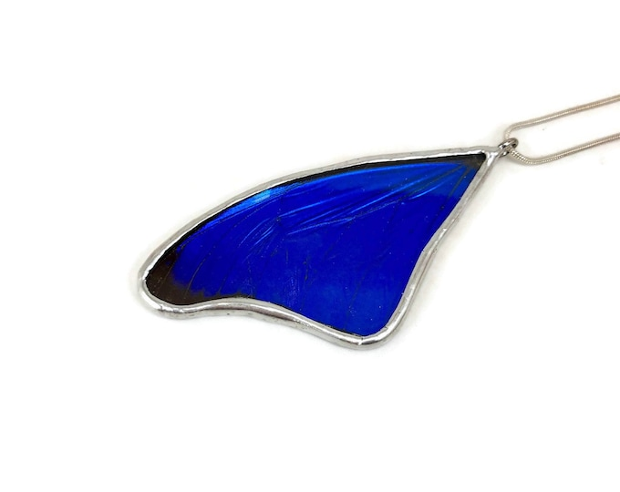Featured listing image: Real Butterfly Wing Necklace Blue Morpho Pendant