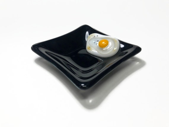 Handcrafted fused glass egg plate, glass home decor, gifts for her, glass sculpture