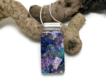 Dichroic glass jewelry, Dichroic Glass Pendant, glass pendant, Fused Glass Jewelry, Fused glass pendant, glass Necklace, Dichroic Glass